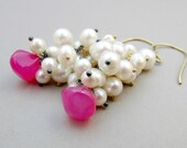 Freshwater Pearl Earrings - Hot Pink Chalcedony and Pearl Cluster Earrings