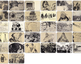 History of Russian Revolutionary Postcard (1905-1917). Set of 32 Vintage Prints, Postcards - 1970s. Fine Arts Publ., Moscow