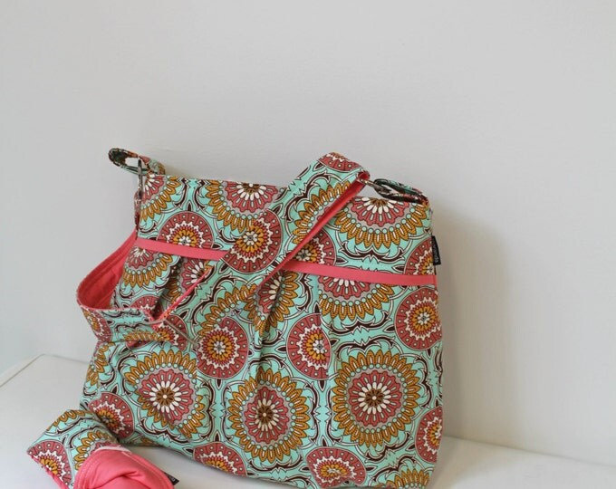 Stella Medallion Diaper Bag Set with Changing Mat-Large-Doily Mint with Coral Peach-6 pockets-Adjustable Strap- Bay Gear- Attach to Stroller