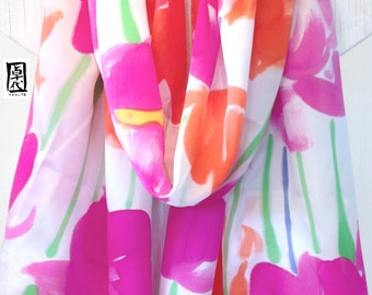 Hand Painted Silk Shawl, Gift for her, Gift for Wife, Large Pink and Orange Flowers Scarf, Silk Satin, Silk Scarves Takuyo , 22x90 inches,