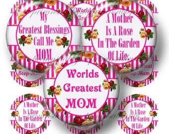 Mom, Mother, Bottle Cap Images, Vintage Roses, Digital Collage Art Sheet, 1 Inch Circles , Printable Collage Sheet, Instant Download