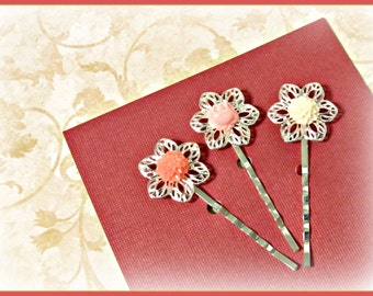 Filigree Flower Hair Pins  - Set of 3 - Hair Bobby Pins - Rose, Pink & White, Trends, Victorian, Shabby Chic, Gift for Her, Gift Under 10