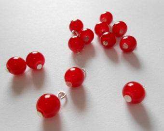 Ruby Red Druk Dangle Beads