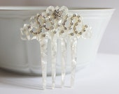 Mother of Pearl Rhinestone Bridal Hair Comb, Art Deco Hair Comb, Art Nouveau, Spanish Comb, Mantilla Veil Accessory, Wedding, Bride