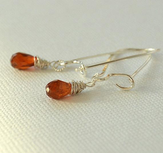 hessonite garnet earrings sterling earrings orange garnet