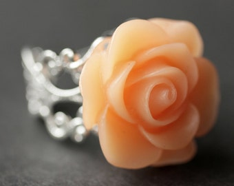 Peach Rose Ring. Peach Flower Ring. Gold Ring. Silver Ring. Bronze Ring. Copper Ring. Adjustable Ring. Handmade Jewelry.