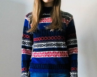 Vintage 70s jacquard fair isle blue pink and white sweater  size S