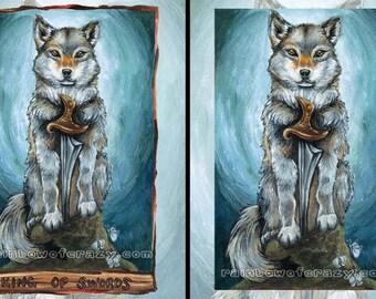 Gray Wolf Art, Custom Size Print, King of Swords Tarot Card, Wildlife Decor, Spirit Animal Totem, Blue & Turquoise, Animism Tarot Deck