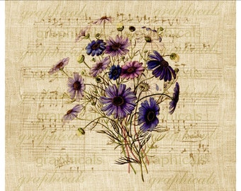 Purple aster flower bouquet clip art Antique Music digital download image for iron on fabric transfer paper burlap decoupage Item No 1897
