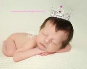 Pink Mini Crown Photo Prop Baby Pink Tiara Baby Headband Newborn Headband Princess Crown Full Rhinestone Crown Headband