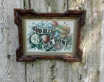 Vintage Estate Lithograph Solid Wood Framed God Bless Our Home Victorian Rustic Cottage Country Farm House Christian Home Decor Gift for Her
