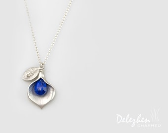 Lapis Necklace - Birthstone Necklace - Custom Initial Jewelry - Sterling Silver Necklace - Personalized necklace - Calla Lilly Necklace