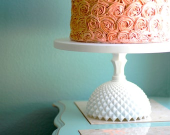 "18"" Wedding Cake Stand / Wedding Centerpiece / Ceramic -Like Cake Stand / Milk Glass Wedding Pedestal / Vintage Weddings, White Weddings"