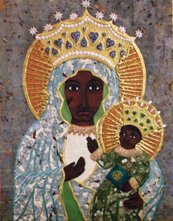 "Our Lady of Czestochowa--Queen & Protector of Poland, a Black Madonna Icon (11x14"" orig collage on cradled hardbord) SOLD--Custom Order Only"