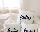 FAITH HOPE LOVE pillow cushion cover, word pillow cover, decorative pillow in off-white and blue, indoor decor, housewarming, wedding gift