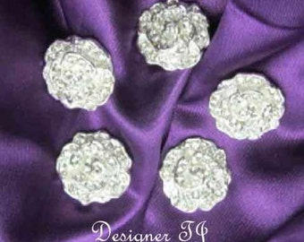 "Rhinestone Buttons,  Flat Back Buttons, ""Sabrina""  Size 20mm  7/8"""
