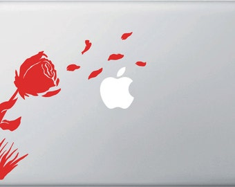 """MB - Rose in the Wind -  Macbooks, Laptops and More... (Color Variations Available) (7.5""""w x 7""""h)"""