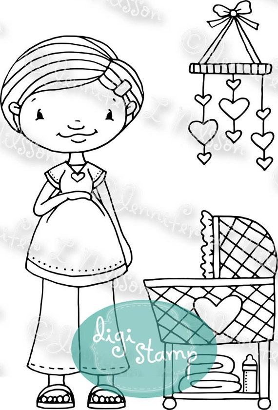 Digital Stamp - New Mommy - pregnant Mother's Day baby arrival - digistamp JPG PNG