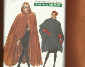 Vintage 1987 Vogue 7110  Dramatic Ankle Length Hooded Cape & Wrap Poncho Sizes P..S