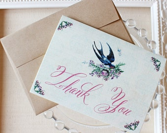 Thank You Notes set of five Vintage Barn Swallow with Roses