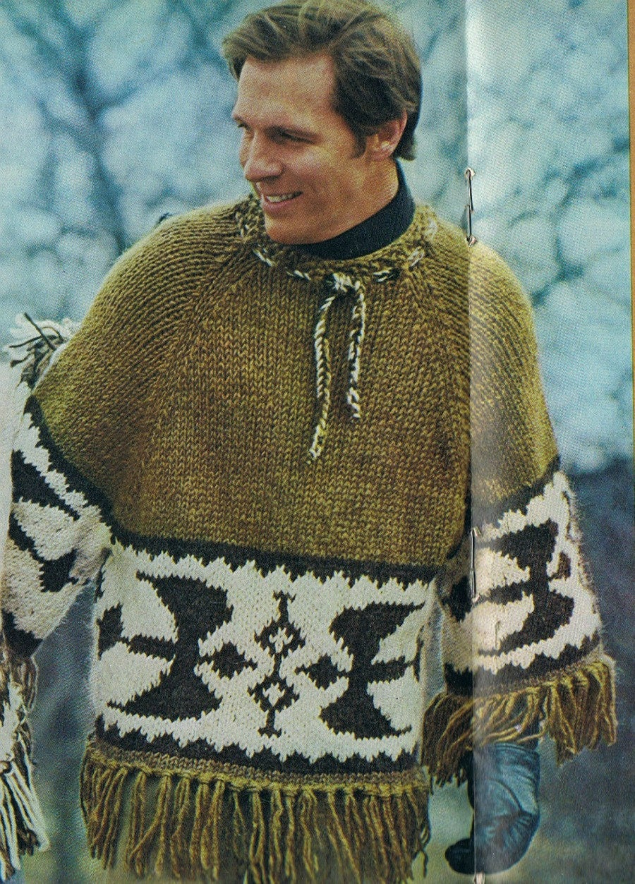 Knit Icelandic Poncho Pullover Man's Pattern on by ...