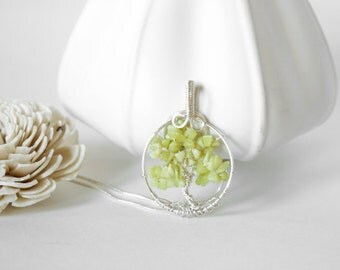 Tree of Life Necklace Jade , Pale green , Lime color
