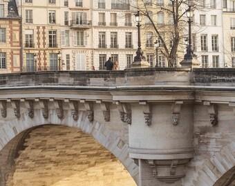 Paris Photography, January Morning Pont Neuf, Travel Architecture Fine Art Photograph, Large Wall Art, Urban Wall Decor