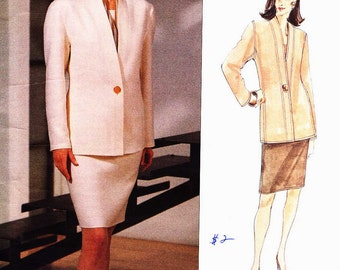 PATTERN Vogue 1392 One button panelled jacket with skirt Size 8-10-12 Genny (Uncut) Vogue Designer Original