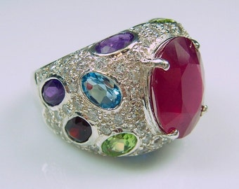 Sterling Ruby & Multi Gemstone Encrusted Silver .925 Ring