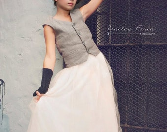 Teens  blush pink long delicate and romantic ballerina tulle skirt made to order only