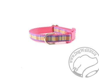 """Pastel Pink Plaid Dog Collar // 3/4"""" (19mm) wide  // Maringale or Quick Relase Dog Collar // Choice of collar style and size"""