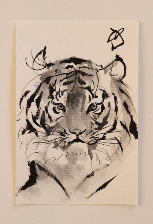 ink drawing tiger drawing japanese traditional animal