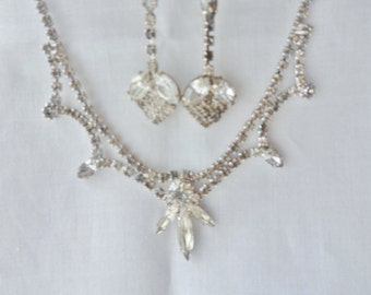 Marquis and Calibre Crystal Rhinestone Necklace with Matching Strawberry Earrings