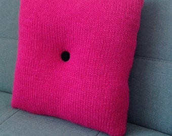 Pillow, Cushion, Teenager's Room, Pink, 60's Style, Pure Wool, Hand Knitted, Shocking Pink, UK Seller