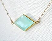 Aqua Chalcedony Necklace, Gold Gemstone Bezel Set in Gold Vermeil, Diamond Geometric Connector Link Pendant - Gift Sister ADPi Framed Stone
