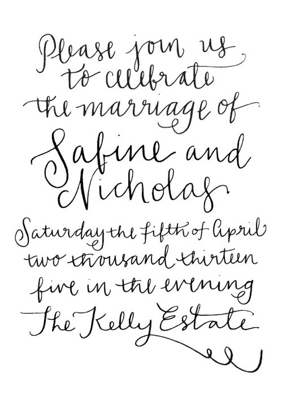 Items Similar To Handwritten Calligraphy Invitation On Etsy