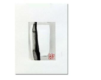 "Original black on white ink wash painting, zen minimalism, 'Fifteen' ink on 9"" x 12"" watercolor paper"