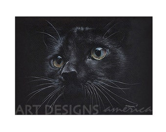 ACEO Black Cat Art Print, Archival Print, SFA, Small Format Art, Artist Trading Card, Cat Pastel Drawing, Cat Eyes, Cat Painting, ADA-P254