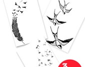 3 Inkwear Temporary Tattoos for 2! Flock Together *High Quality Die Cut Transfer*