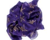 PURPLE SCARF - Purple & Gold Origami Paper Cranes Ladies Scarf