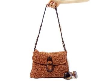 Crochet shoulder bag, Handmade tote bag, Handmade Satchel, Book bag, Brown, Chic bag, Cinnamon
