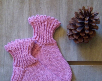 Childrens cozy and warm Boot/ WOOL SOCKS, Romantic Rustic chic, Baby girls 3y EU26, Pink, Handknitted, Machine washable, Handmade in Finland