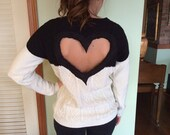 Heart Back Black/Cream Cable Sweater  SIZE SMALL Heart cut out sweater colorblock Black/Cream
