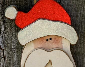 Santa Ornament, Christmas Decor Wood Santa Claus Ornament, Hand-Painted Wood Santa Ornament, Christmas Tree Santa Ornament