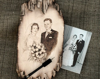 Wedding Portraits Wood Burned onto Beautiful Distressed Maple - Handcrafted Pyrography Photo Gifts Available in Custom Sizes and Prices