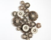 Paper Cogs - Grey Modern Art Installation - Recycled Book Paper Sculpture - Neutral Wall Decor - Paper Star Constellation Wall Appliques