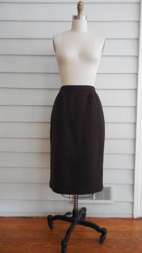 des ann es 1970 ou 80 s chocolat marron jupe crayon laine. Black Bedroom Furniture Sets. Home Design Ideas