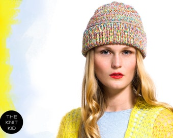 Beanie HANNE motley merino extrafine colorblock knitted hat theknitkid the knit kid handmade in Germany Berlin rainbow multicolored