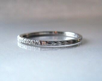 Half Eternity Diamond Band 14K Gold Hand Engraved