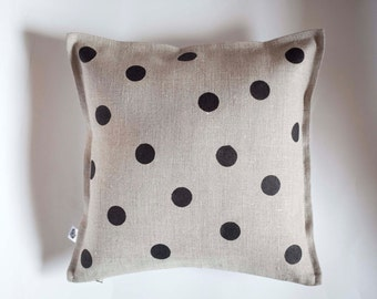 Polka dots on gray linen pillow - small giftables - linen decorative pillow cover hand painted - classic polka dots - custom color  0111